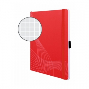 Блокнот Notizio для записей, в клетку, А5, красный, 80 л.