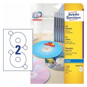 Глянцевые этикетки для CD/DVD, d117мм, C6074-20