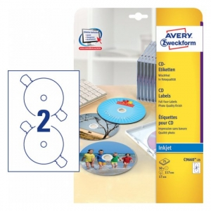 Глянцевые этикетки для CD/DVD, d117мм, C9660-25