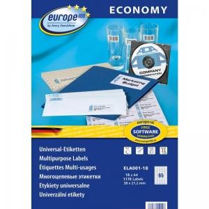 Самоклеющиеся универсальные матовые этикетки Европа-100, 38 x 21,2мм, ELA001