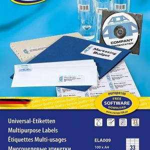 Самоклеющиеся универсальные матовые этикетки Европа-100, 70 х 25,4мм, ELA009