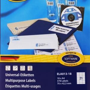 Самоклеющиеся универсальные матовые этикетки Европа-100, 70 x 42,3мм, ELA013-18
