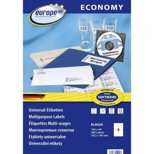 Самоклеющиеся универсальные матовые этикетки Европа-100, 105 x 148,5мм, ELA024