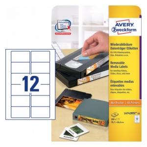 Удаляемые этикетки для видеокассет 78,7 x 46,6мм, L4742REV-25