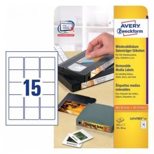 Удаляемые этикетки для видеокассет 59 x 50мм, L4747REV-25