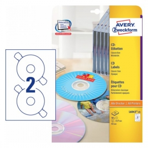 Глянцевые этикетки для CD/DVD, d117мм, L6043-25