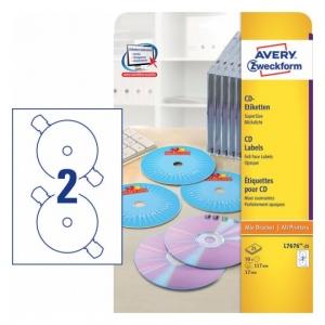 Глянцевые этикетки для CD/DVD, d117мм, L7676-25