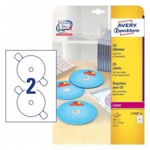 Глянцевые этикетки для CD/DVD, d117мм, L7760-25