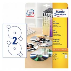 Глянцевые этикетки для CD/DVD, d117мм, L7860-20