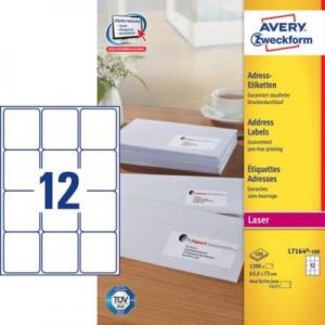 Белые адресные этикетки QuickPEEL из бумаги, 63,5 x 72, L7164-100
