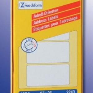 Белые адресные этикетки Zig-Zag из бумаги, 67 x 36, 3343