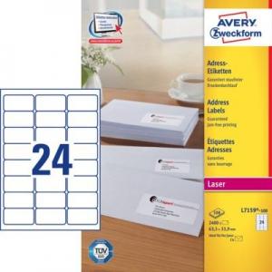 Белые адресные этикетки QuickPEEL из бумаги, 63.5 x 33.9, L7159-100