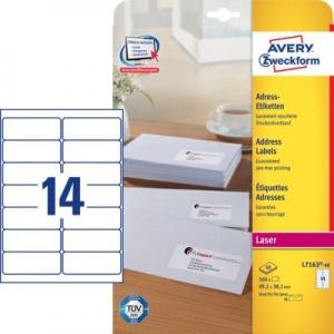 Белые адресные этикетки QuickPEEL из бумаги, 99.1 x 38.1, L7163-40