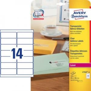Прозрачные этикетки из полиэстера, 99.1 x 38.1, L7563-25