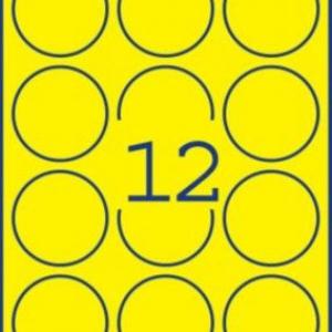 Неоновые желтые этикетки из бумаги, ? 63.5, L7670Y-25