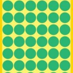 Зеленые этикетки-точки из бумаги, ? 12, 3143