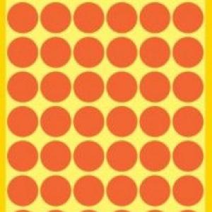 Неоновые красные этикетки-точки из бумаги, ? 12, 3147