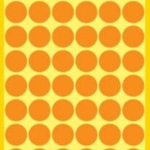 Неоновые оранжевые этикетки-точки из бумаги, ? 12, 3148