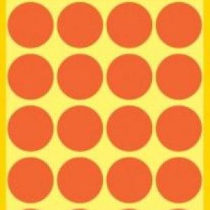 Неоновые красные этикетки-точки из бумаги, ? 18, 3172