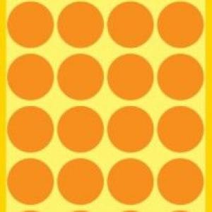 Неоновые оранжевые этикетки-точки из бумаги, ? 18, 3173