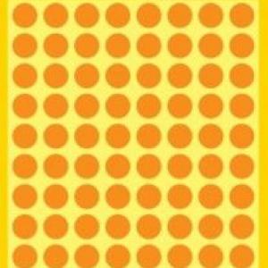 Неоновые оранжевые этикетки-точки из бумаги, ? 8, 3178