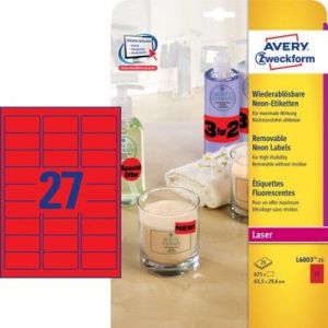 Неоновые красные этикетки из бумаги, 63.5 x 29.6, L6003-25