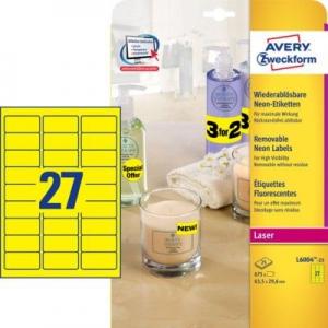 Неоновые желтые этикетки из бумаги, 63.5 x 29.6, L6004-25