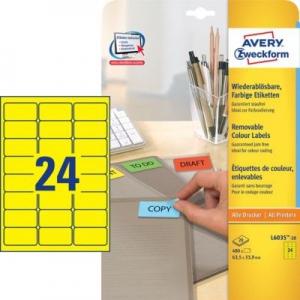 Желтые бумажные этикетки, 63.5 x 33.9, L6035-20