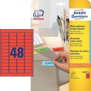 Красные бумажные мини-этикетки, 45.7 x 21.2, L6038-20