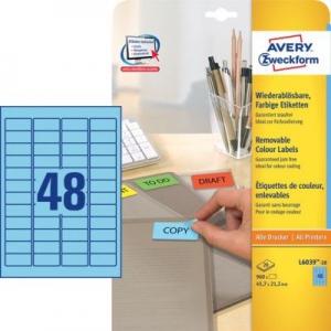 Синие бумажные мини-этикетки, 45.7 x 21.2, L6039-20