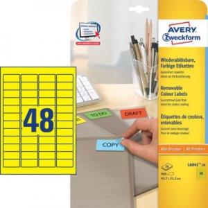 Желтые бумажные мини-этикетки, 45.7 x 21.2, L6041-20