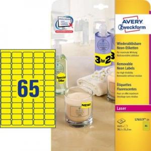 Неоновые желтые этикетки из бумаги, 38.1 x 21.2, L7651Y-25