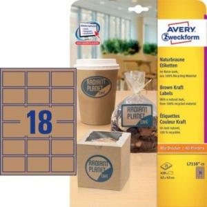 Коричневые этикетки из крафт-бумаги, 62 x 42, L7110-25