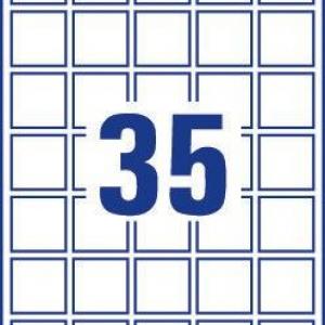 Непросвечивающиеся белые бумажные этикетки для матричного кодирования, 35 x 35, L7120-25
