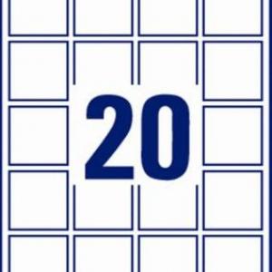 Непросвечивающиеся белые бумажные этикетки для матричного кодирования, 45 x 45, L7121-25