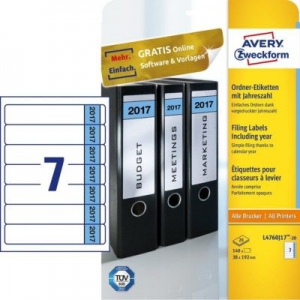 Белые этикетки для папок на 2017 год из бумаги, 38 x 192, L4760J17-20
