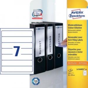 Белые этикетки для папок из бумаги, 38 x 192, L4760REV-20