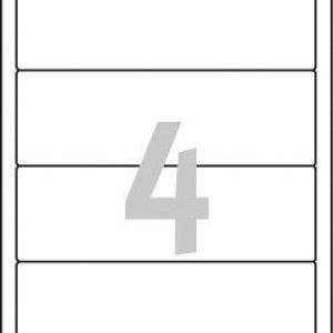 Белые короткие непрозрачные этикетки из бумаги для папок, 192 x 61, L4761-25