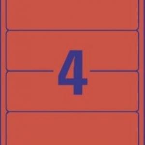 Красные короткие непрозрачные этикетки из бумаги для папок, 192 x 61, L4766-100