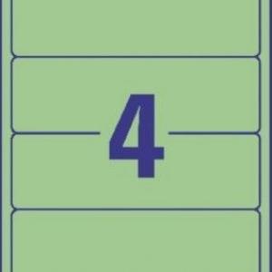 Зеленые непрозрачные этикетки из бумаги для папок, 192 x 61, L4768-100