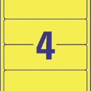 Желтые короткие непрозрачные этикетки из бумаги для папок, 192 x 61, L4769-20