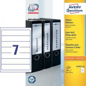 Белые непрозрачные этикетки из бумаги для папок, 38 х 192, L4760-100