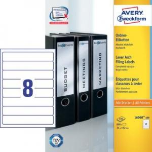 Белые непрозрачные этикетки из бумаги для папок, 192 x 34, L6060-100