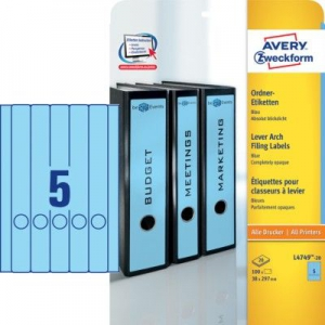 Синие длиные непрозрачные этикетки из бумаги для папок, 38 x 297, L4749-20
