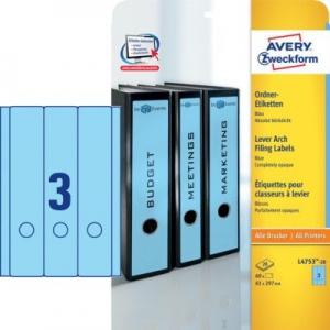 Синие длиные непрозрачные этикетки из бумаги для папок, 61 x 297, L4753-20
