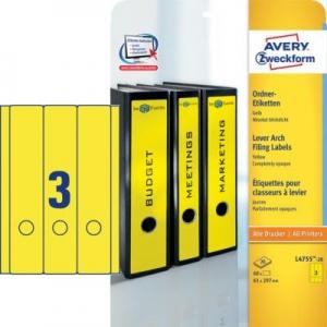 Желтые длиные непрозрачные этикетки из бумаги для папок, 61 x 297, L4755-20