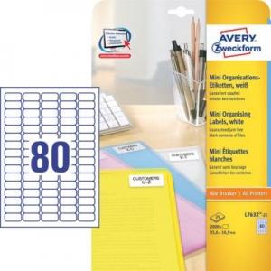 Белые бумажные мини-этикетки, 35.6 x 16.9, L7632-25