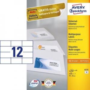 Универсальные белые этикетки из бумаги, 70 x 36, 6131