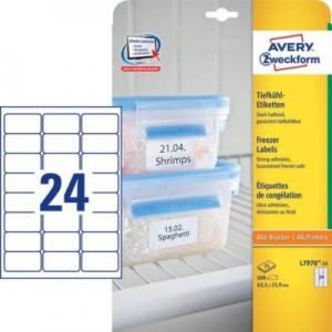 Белые морозостойкие этикетки из бумаги, 63,5 x 33,9, L7970-25