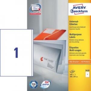 Белые универсальные этикетки из бумаги, 200 x 297, 3418